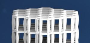 Наподобяващата на кошерна пита структура на свръх-здравия материал. Снимка: Jens Bauer