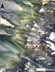 Стрелките сочат към следите, които според учените може би са от течаща вода. Снимка: NASA/JPL-Caltech/Univ. of Arizona