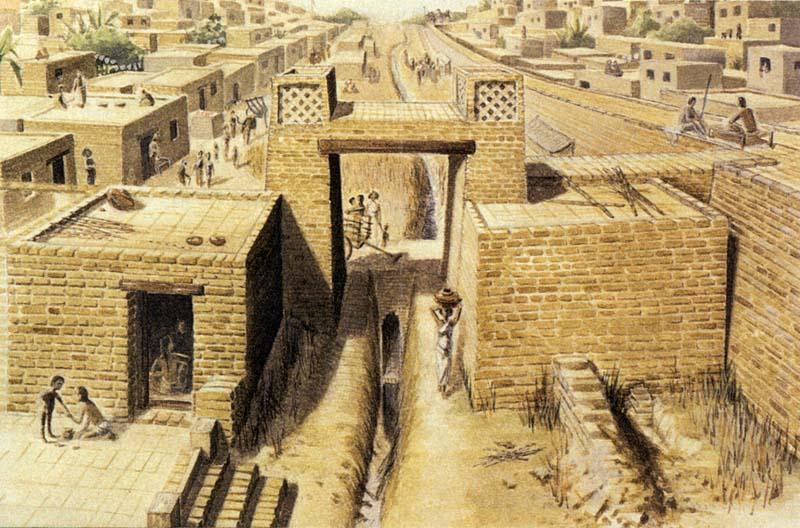 Илюстрация, показваща част от древна Харапа - основен град в Харапанската цивилизация. Изображение: Jonathan Mark Kenoyer, University of Wisconsin-Madison