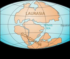 Континентите на Земята преди 200 милиона години - супер-континентът Гондвана е в долната част на илюстрацията. Изображение: LennyWikidata (CC BY 3.0)