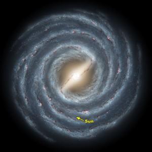 """Млечният път, гледан """"отгоре"""", над равнината на диска. Разположението на Слънцето е отбелязано със стрелкичка. Изображение: NASA"""
