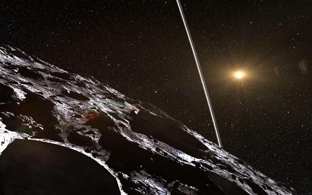 Така вероятно изглежда гледката към пръстените от повърхността на астероида. Изображение: ESO/L. Calçada/Nick Risinger