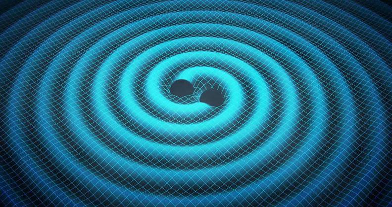 Две черни дупки, падащи по спирала една към друга. Според теорията това движение е съпроводено с излъчване на гравитационни вълни, тъй като мощната гравитация на дупките изкривява пространство-времето. Изображение: Swinburne Astronomy Productions