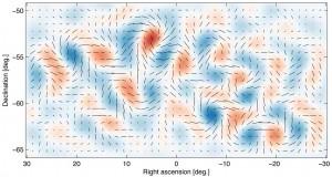 Учените открили, че гравитационните вълни, породени след Големия взрив, са оставили отчетлив вълнообразен отпечатък върху светлината от титаничната експлозия. Изображение: BICEP2 Collaboration