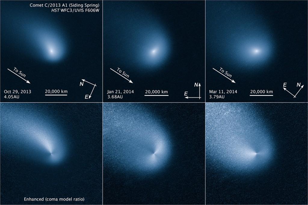 """Кометата """"Сайдинг Спринг"""", снимана на три различни дати. Долните три изображения са обработена версия на снимките, показваща по ясно струите от прах. Изображение: NASA, ESA, and Z. Levay (STScI)"""