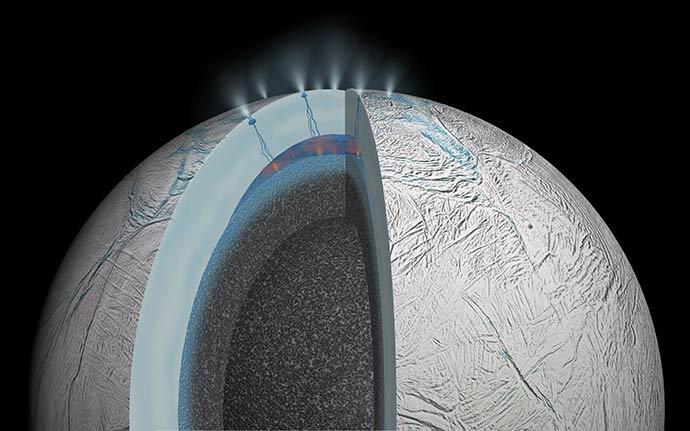 Океанът на Енцелад вероятно е подходяща среда за съществуването на живот. Снимка: NASA/JPL