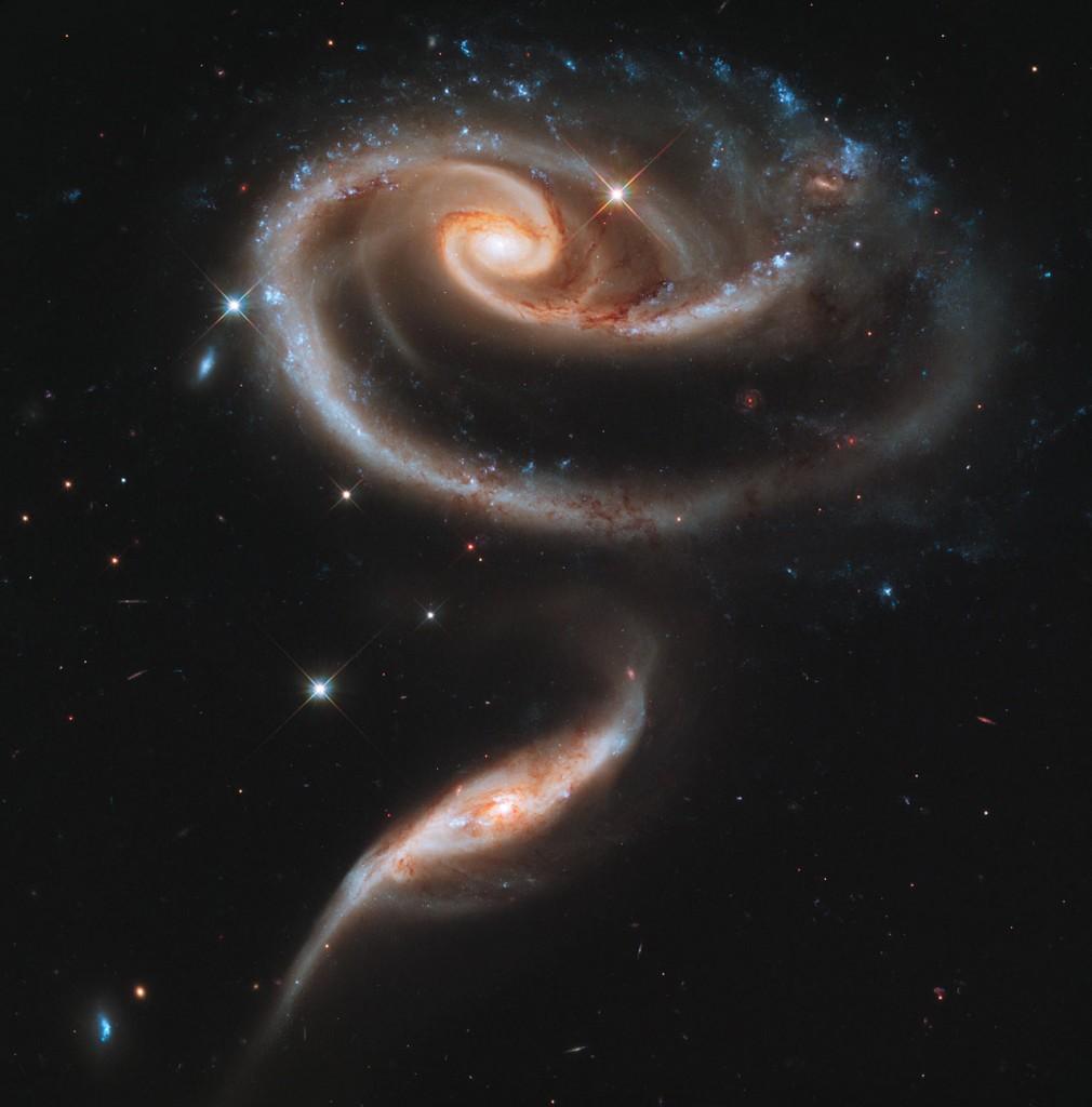 Двойката танцуващи галактики Arp 273 са вплетени в красива космическа роза. Снимка: NASA, ESA and the Hubble Heritage Team (STScI/AURA)
