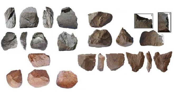 Някои от древните каменни сечива, открити в Кения.