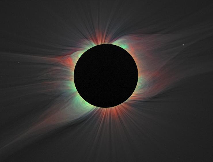 Слънчевата корона с наслагване на излъчването на силно йонизирани атоми на желязо. Снимката е направена по време на затъмнение през 2008г. Изображение: NASA/Habbal, et al