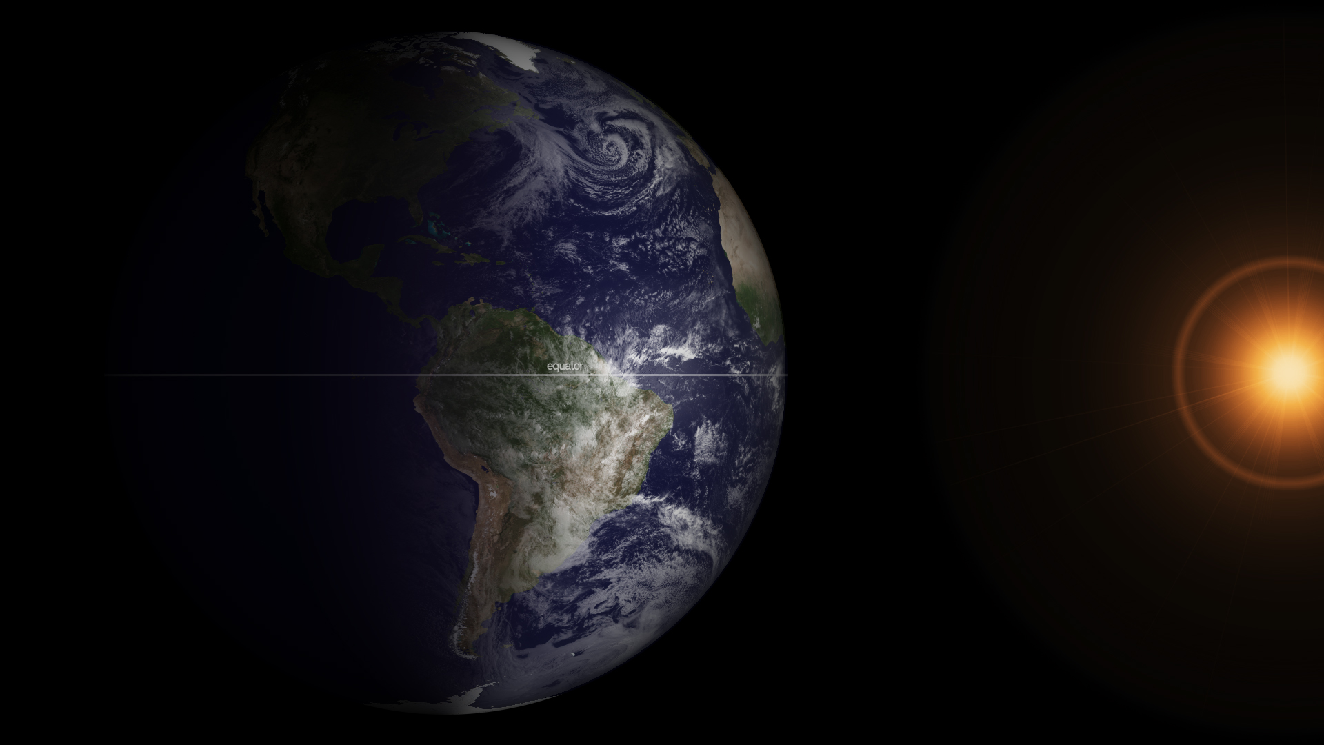 Снимката на Земята в пролетно равноденствие, направена от сателита GOES-13 (кликни за по-голяма версия). Изображение: NOAA
