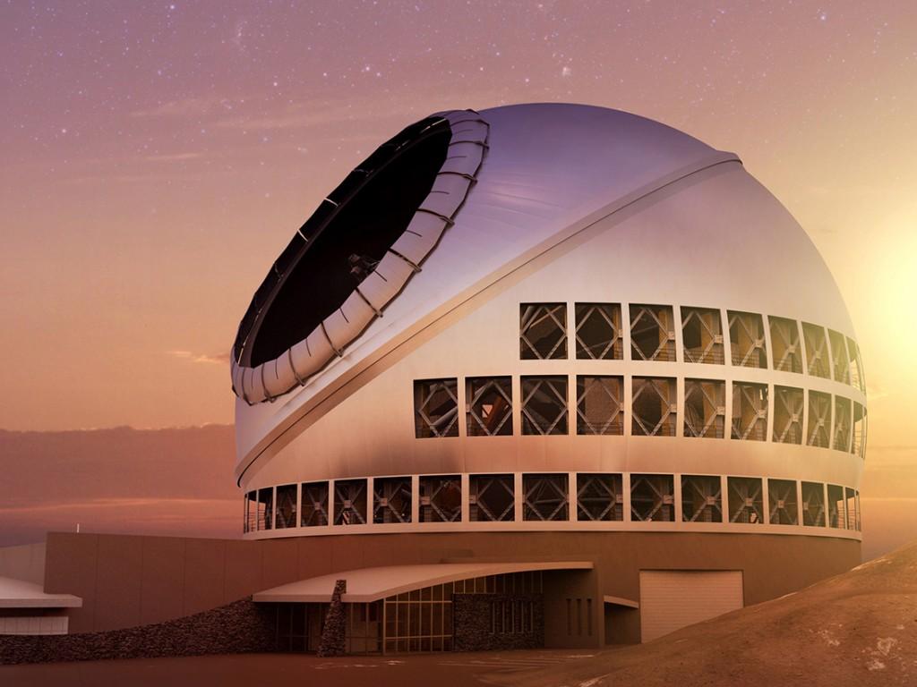 Художествена концепция за бъдещия телескоп ТМТ. Изображение: TMT Observatory Corporation