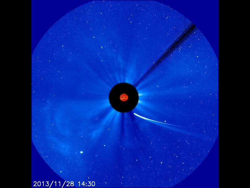 Композитно изображение на приближаването на ISON към Слънцето на 28 ноември. Снимка: ESA&NASA/SOHO/SDO