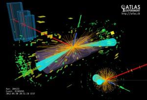 Графична репрезентация на колизия в експеримента ATLAS, в която Хигс бозон най-вероятно се разпада на фермиони. Изображение: ATLAS Experiment © 2013 CERN