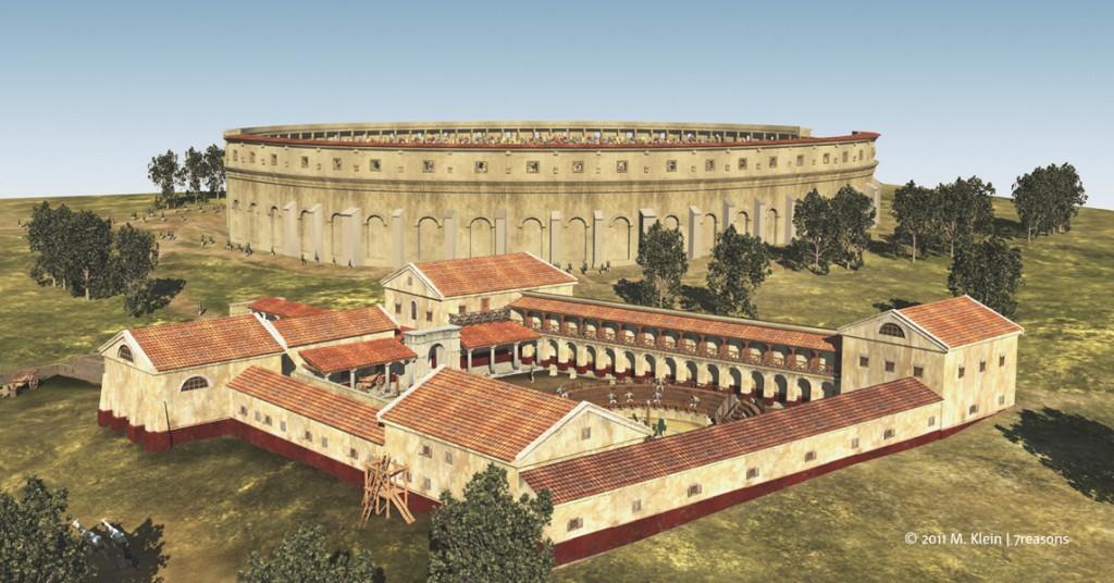 3D реконструкция на училището за гладиатори, т.нар. лудус. Изображение: M.Klein / 7reasons
