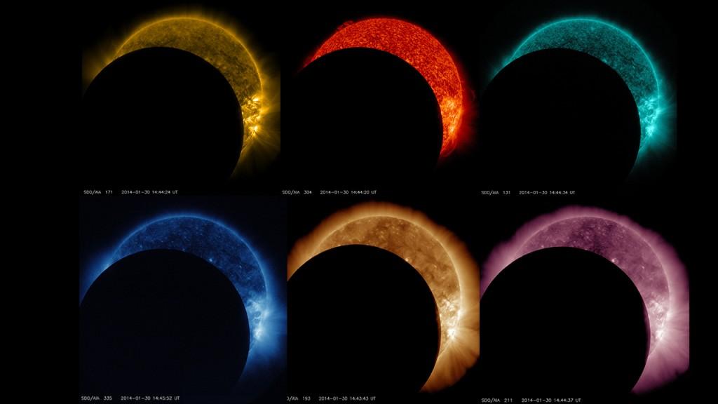 Слънчевото затъмнение, заснето от космическия апарат SDO, е показано тук в различни цветове, отговарящи на различни части от светлинния спектър. Снимка: NASA/SDO