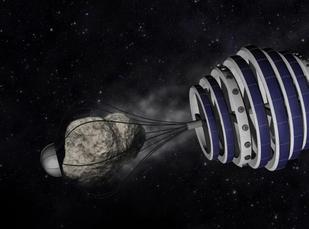 Станцията Greenspace улавя астероид, за да го сондира за полезни ресурси. Автор: Greenspace