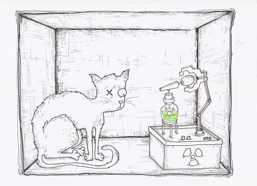 Котката на Шрьодингер е едновременно жива и мъртва. Илюстрация: ADA&Neagoe/Nauteka.bg (CC BY-SA 3.0)