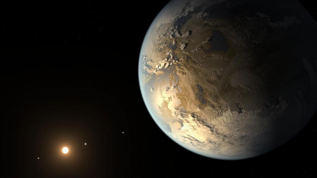 Илюстрацията показва как може би изглежда новооткритата планета Kepler-186f. Изображение: NASA Ames/SETI Institute/JPL-Caltech