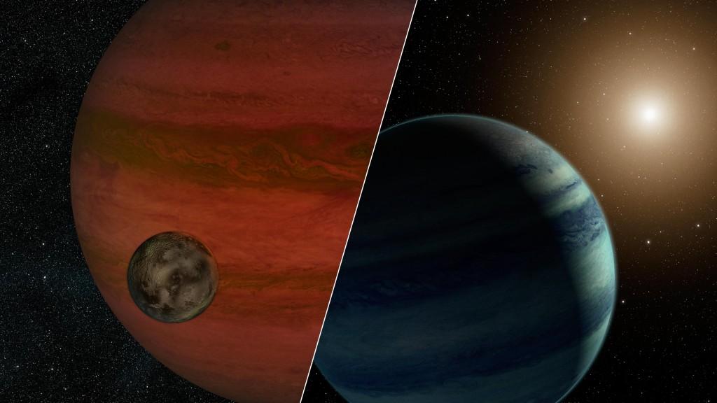 Илюстрацията вляво показва предполагаемата луна, обикаляща около планета, подобна на Юпитер. По-малко вероятния, според учените, вариант е показан вдясно - вместо планета и луна - звезда и планета. Изображение: NASA/JPL-Caltech