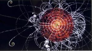 Илюстрация на разлитащи се при колизия частици.