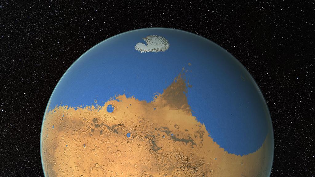 Океанът на Марс е бил по-голям от Арктическия океан на Земята и е покривал близо 20% от повърхността на планетата. Изображение: NASA's Goddard Space Flight Center