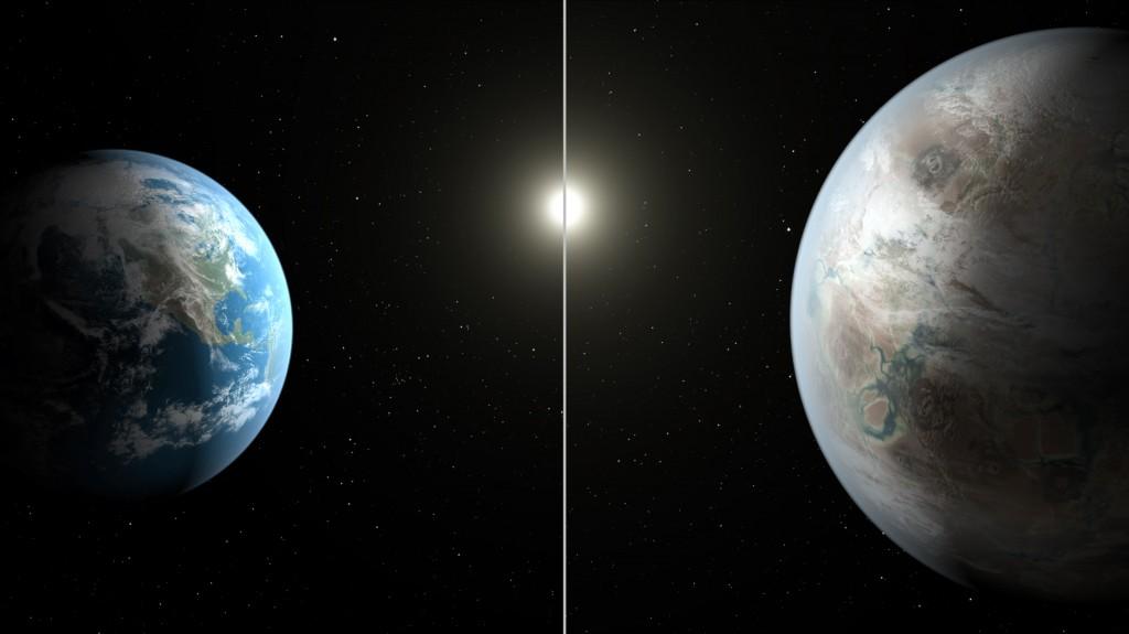 Земята и Слънцето, сравнени с Kepler-452b и нейната звезда. Илюстрация: НАСА