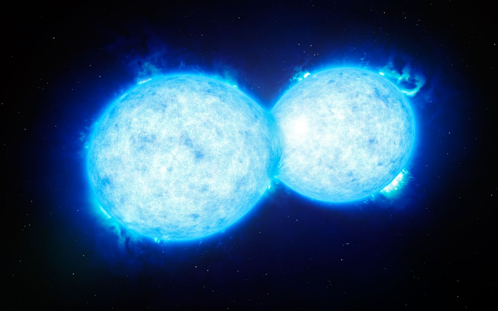 Илюстрация на двойната система VFTS 352, която се намира на 160 000 светлинни години от нас. Изображение: ESO/L. Calçada