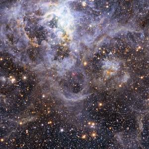 Снимката показва локацията на двойката звезди VFTS 352 в Големия Магеланов облак. Изображение: ESO/M.-R. Cioni/VISTA Magellanic Cloud survey