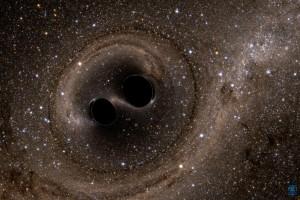 Компютърна симулация на двете черни дупки, в момента преди да се сблъскат. Изображение: NSF