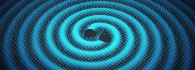 Илюстрация на гравитационните вълни, които се излъчват, когато две масивни тела обикалят едно около друго.